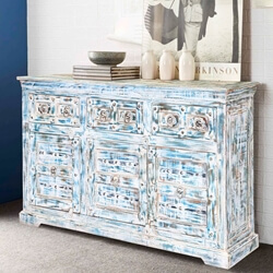 "Winter Morning Gothic Reclaimed Wood 55"" Sideboard Cabinet"