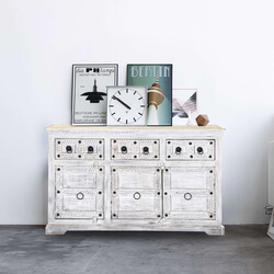 Winter White Tudor Reclaimed Wood Sideboard Cabinet