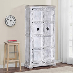 "Winter White Tudor Reclaimed Wood 68"" Rustic Armoire"