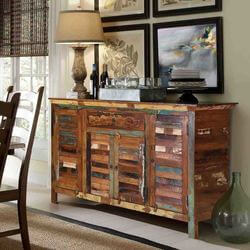 "Tangier 60"" Shutter Design 4-Door Reclaimed Wood Dining Room Sideboard"