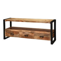"Roxborough 59"" Industrial Three Drawer Rustic  Media Console Cabinet"