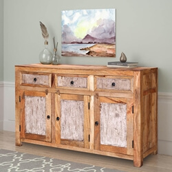 "Gatlinburg 59"" Handcrafted Solid Wood 3-Door Rustic Sideboard"