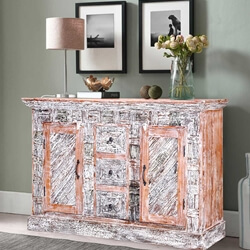 Boone Handcrafted Solid Wood 3-Drawer 2-Door Kitchen Sideboard
