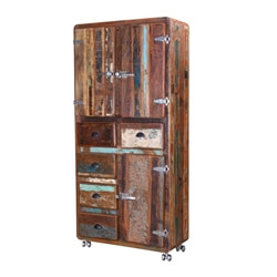 "Fairfax 74"" Industrial Rustic Reclaimed Wood Rolling Display Cabinet"