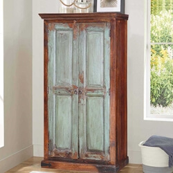 "Shaker 61"" Frosted Front Mango Wood Freestanding Wardrobe Cabinet"