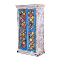 "Casablanca 59"" Distressed Floral Tiled Solid Wood Rustic Armoire"