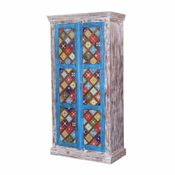 "Casablanca 71"" Hand Painted Floral Tiled Solid Wood Rustic Armoire"