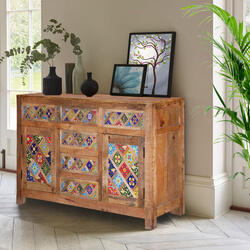 "Farmhouse 55"" Rainbow Tiles Rustic Mango Wood Sideboard Cabinet"