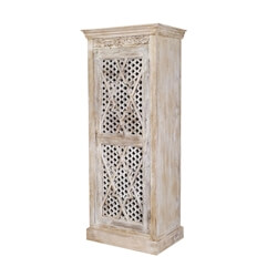 Winter White 8-Pointed Star Mango Wood Rustic Armoire Cabinet