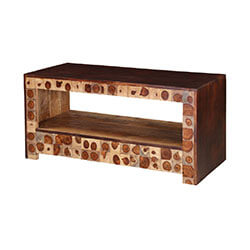 Contemporary Wood Rings Tiles Mango Wood Rustic TV Media Console