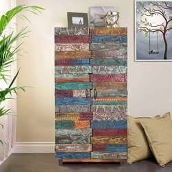 "Rainbow 67"" Conch Carving Wooden Tile Reclaimed Wood Armoire"