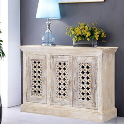 "Winter White 47"" Flower Lattice Mango Wood Buffet Cabinet"