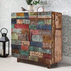 Rainbow Hand Carved Wooden Tile Reclaimed Wood Rustic Storage Cabinet