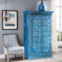 Gothic Blue Reclaimed Wood Double Door Rustic Armoire