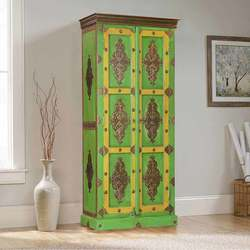 Moroccan Hand Carved Solid Wood Rustic Armoire with Brass Accents