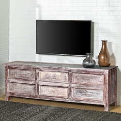 Tempe Handcrafted 6-Drawer Reclaimed Wood TV Stand Media Console