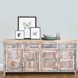 "Tucson 72"" Handcrafted Reclaimed Wood 4-Drawer Rustic Sideboard"