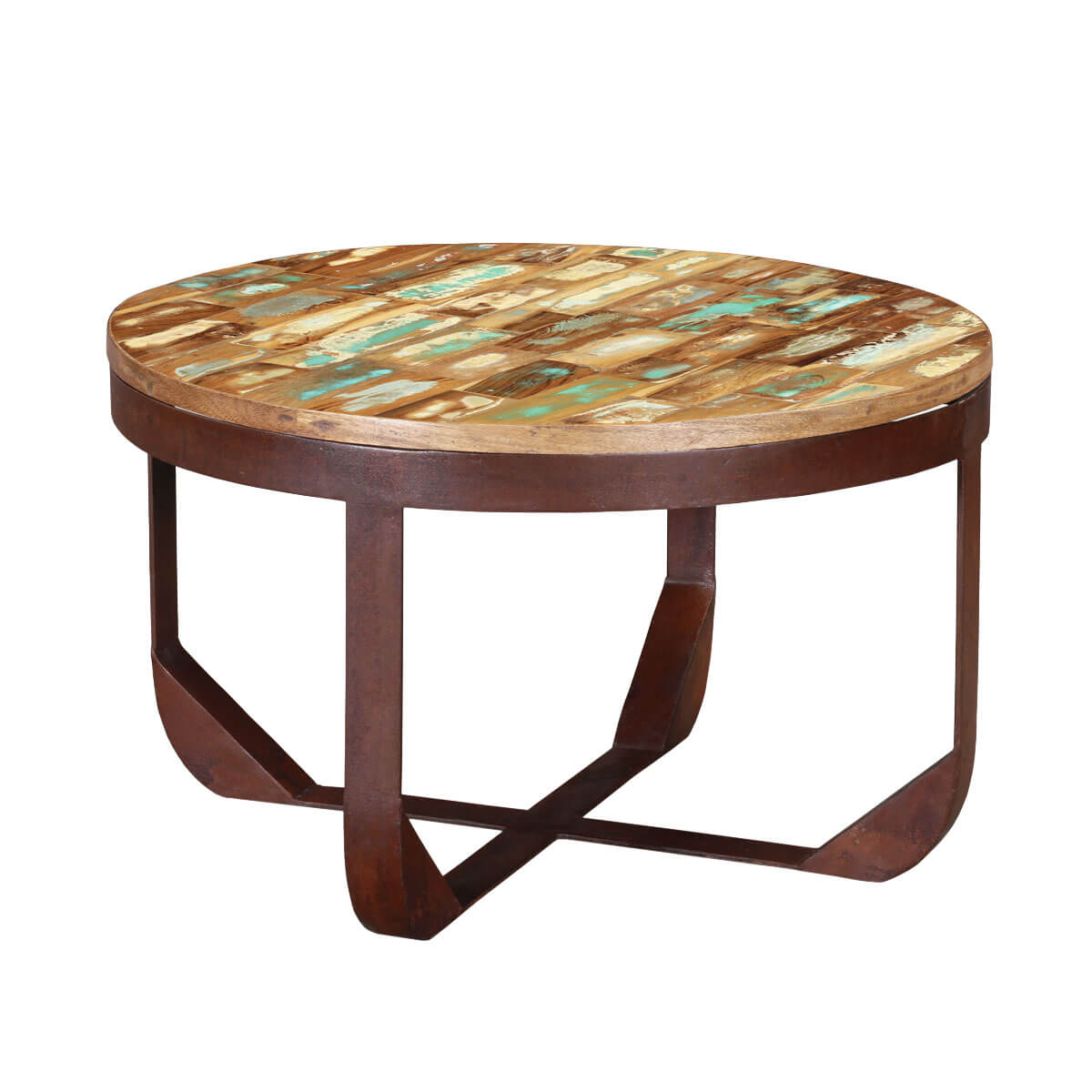"Industrial 29"" Round Handcrafted Reclaimed Wood Rustic Coffee Table"