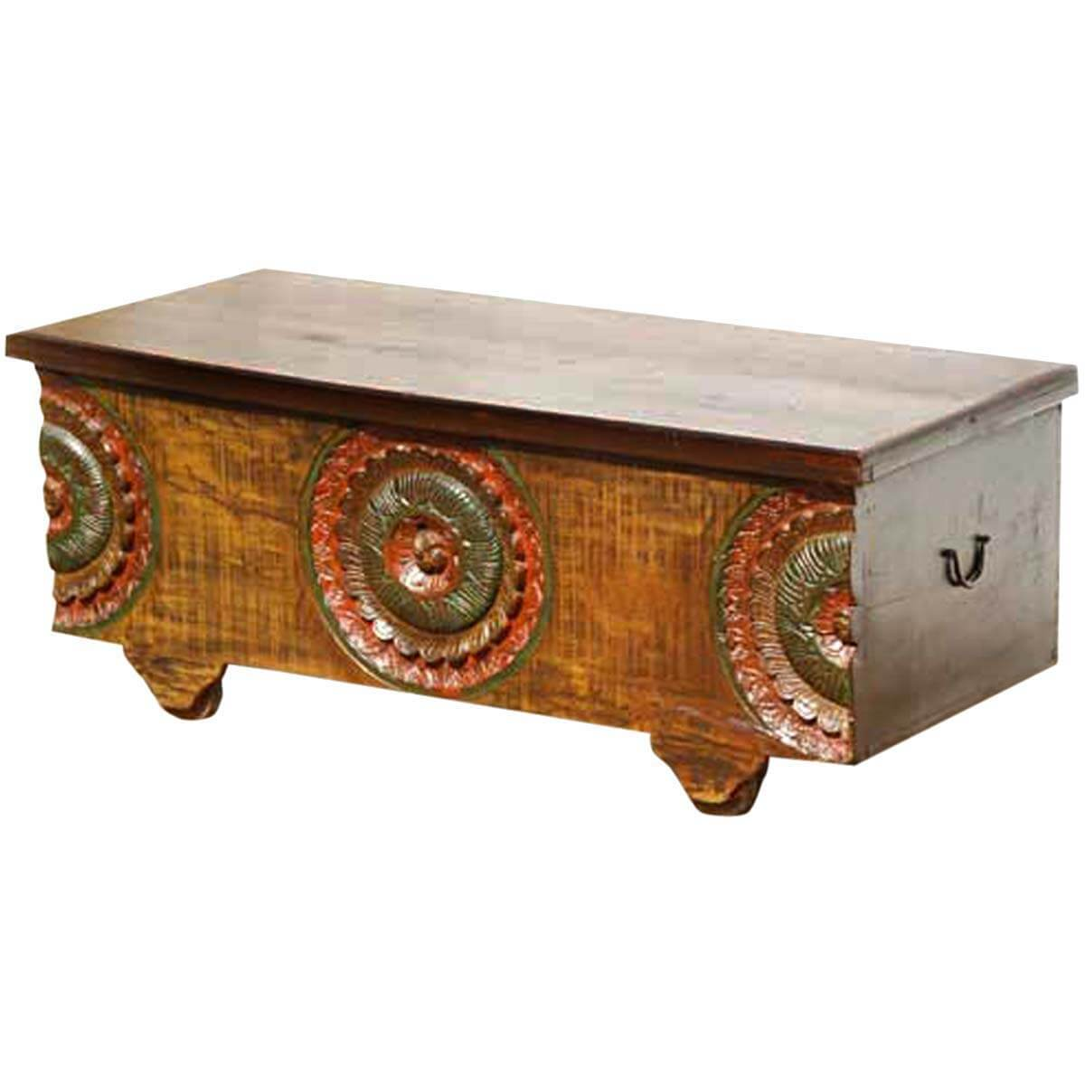 Antique Trunks As Coffee Tables: Antique Style Carved Wood Storage Trunk Coffee Table