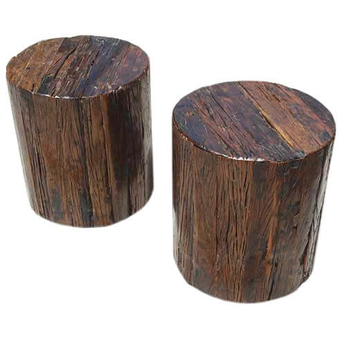 Appalachian solid wood 2pc tree stump end table stool set for Wood stump end table