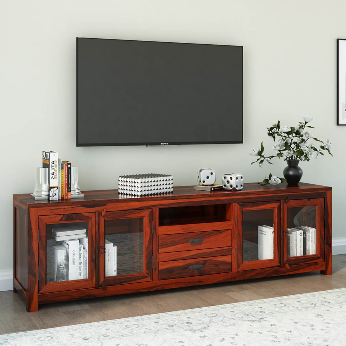 Large rustic solid wood tv media stand console with glass