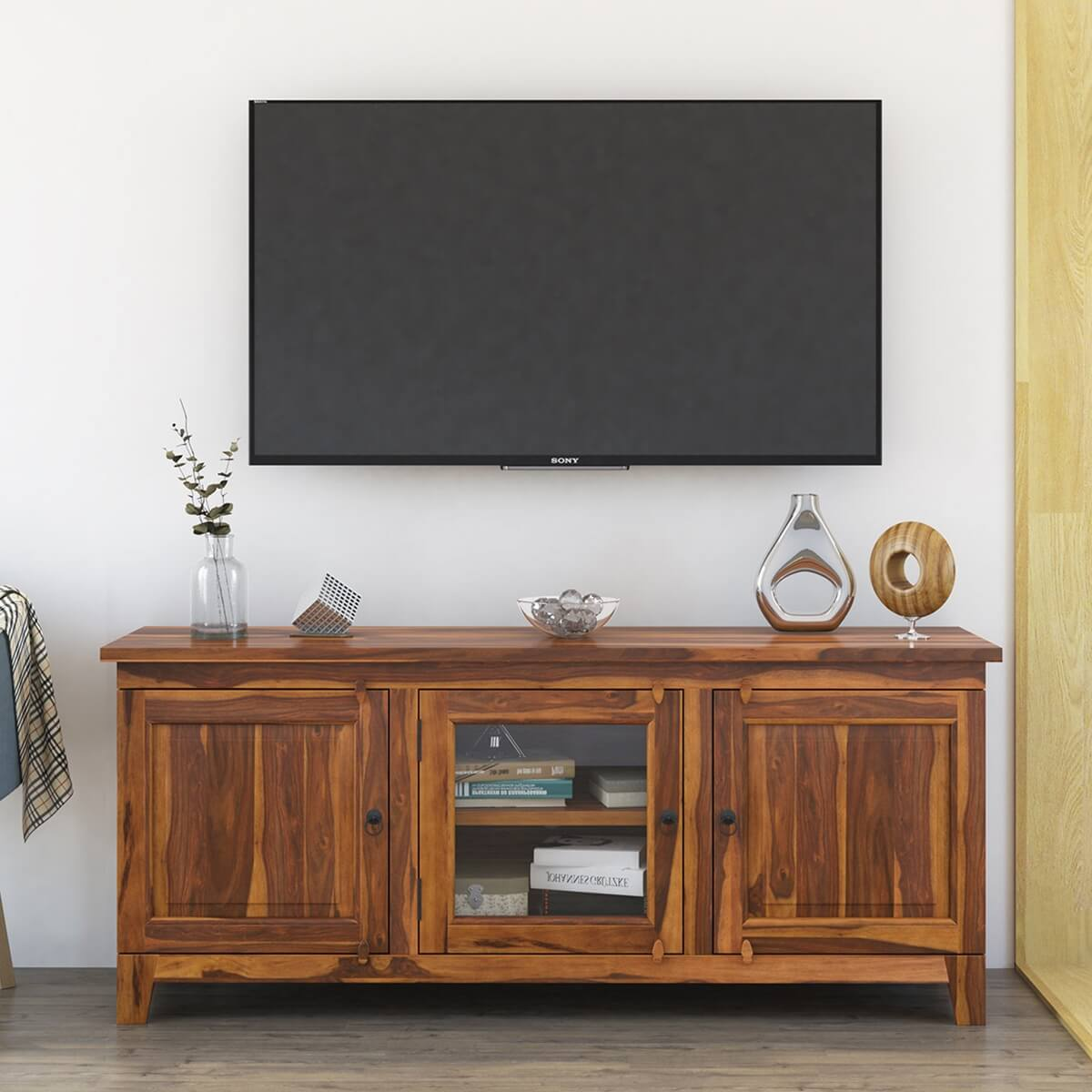Rustic media console large solid wood tv stand cabinet