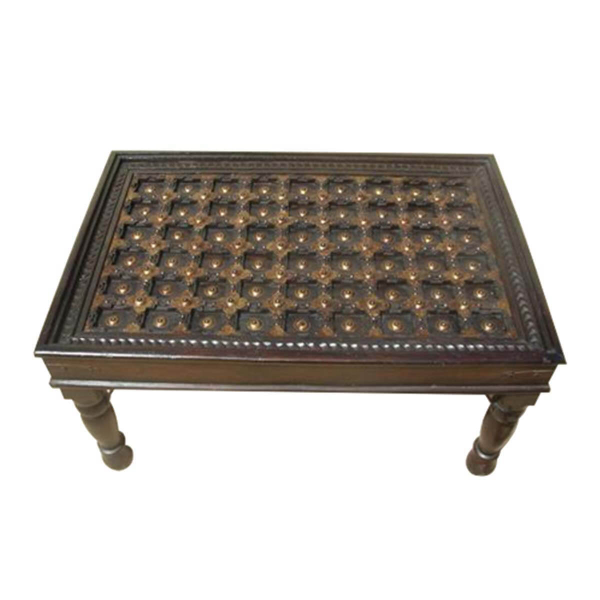 Vintage Wood Coffee Tables: Antique Heritage Design Brass And Mango Wood Coffee