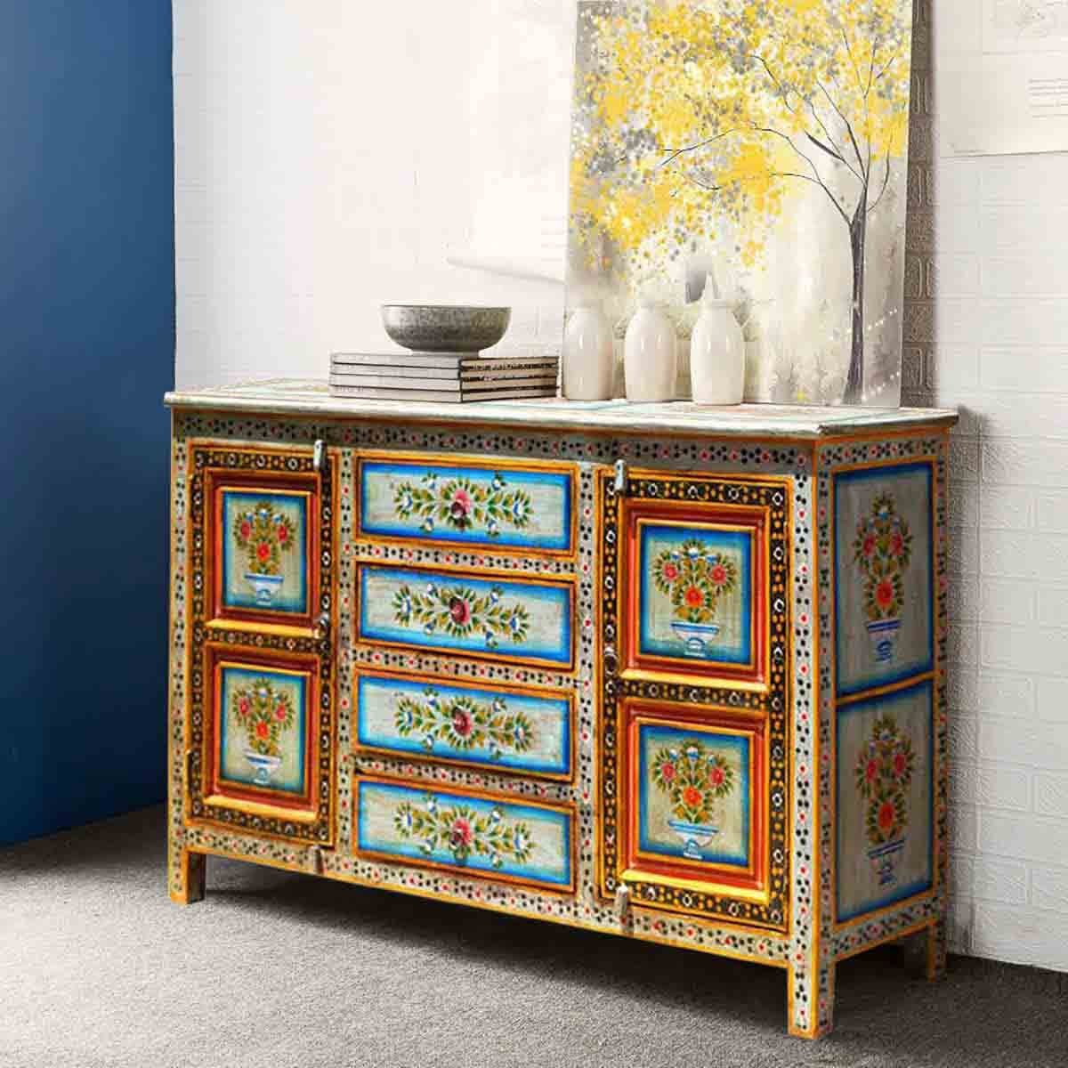 Red dahlia hand painted 4 drawer sideboard for Painted buffet sideboard