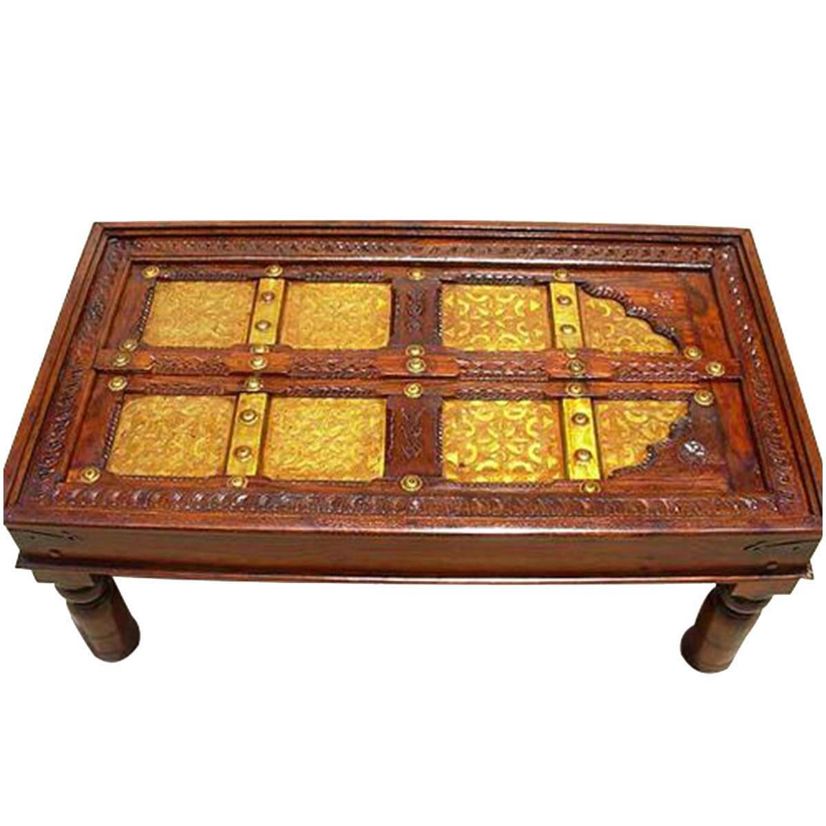 Royal door hand carved brass inlaid mango wood coffee table Carved wood coffee table