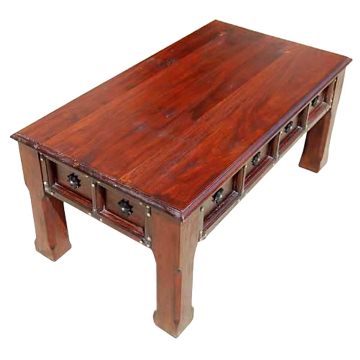 Bayfield rustic handcrafted solid wood coffee table w iron for Solid wood coffee table