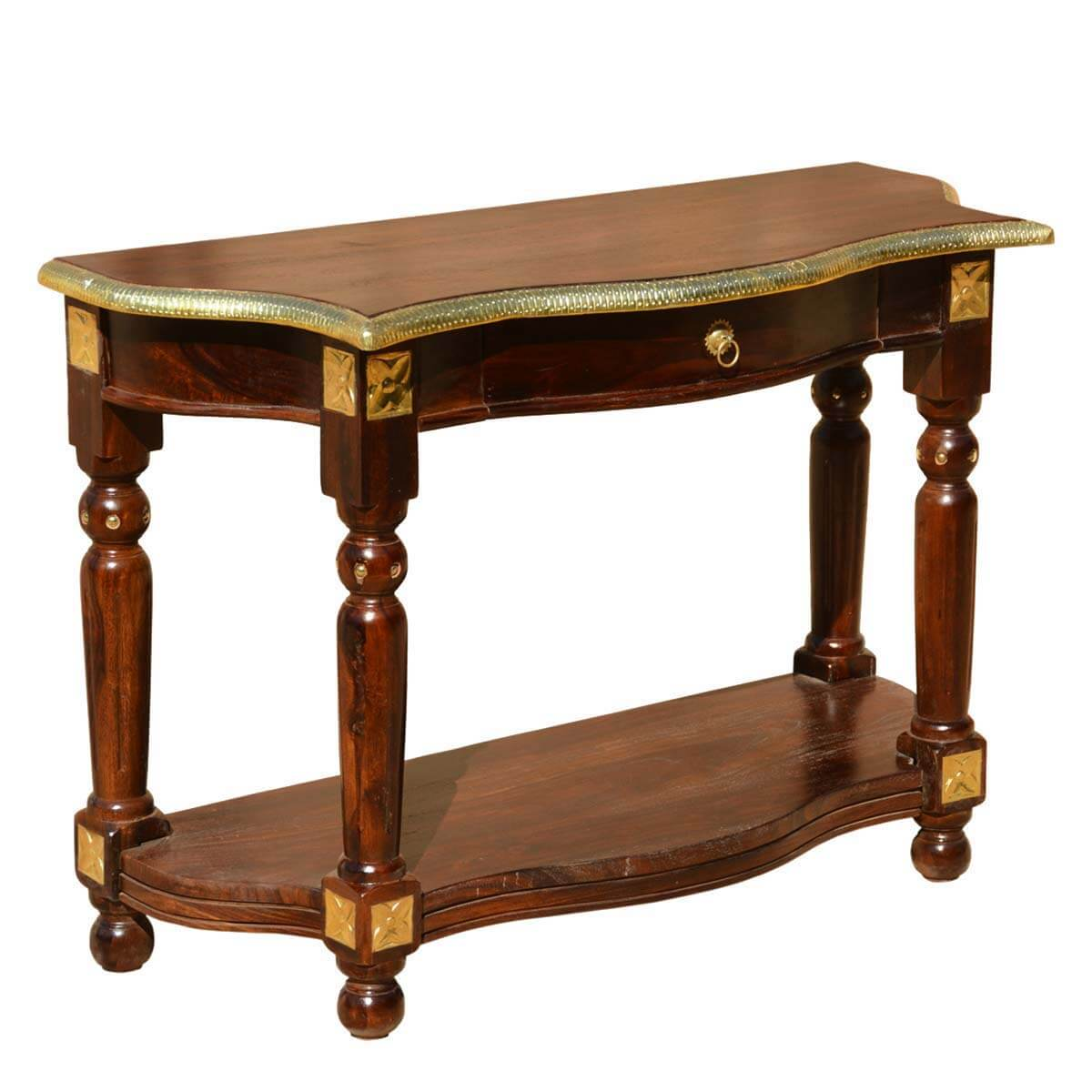 Foyer Console Bench : Solid wood brass strip work console foyer hall table