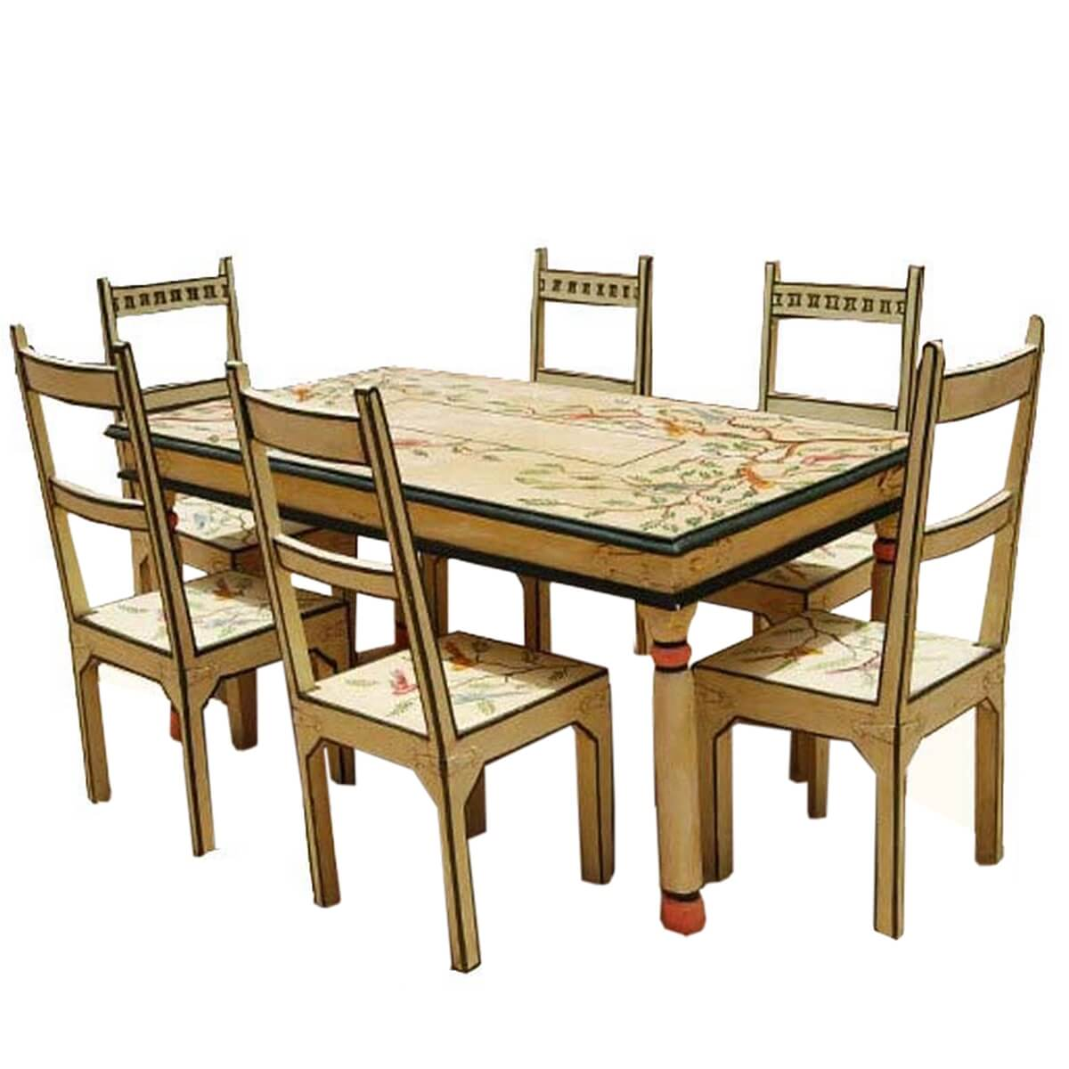 Birds of paradise hand painted 7pc country dining table for Dinner table and chairs set
