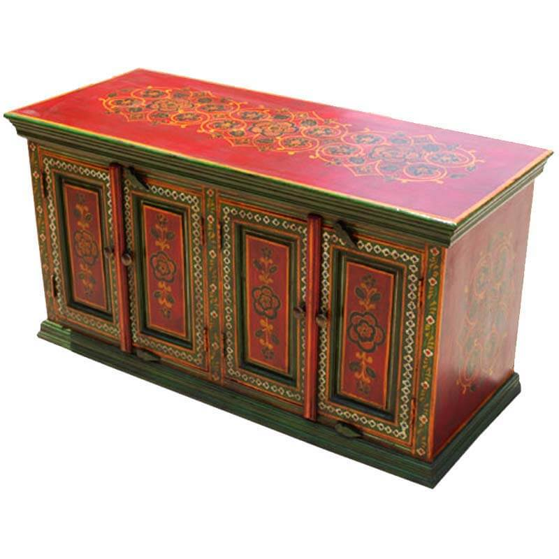 Hand painted oriental garden 4 door sideboard for Painted buffet sideboard