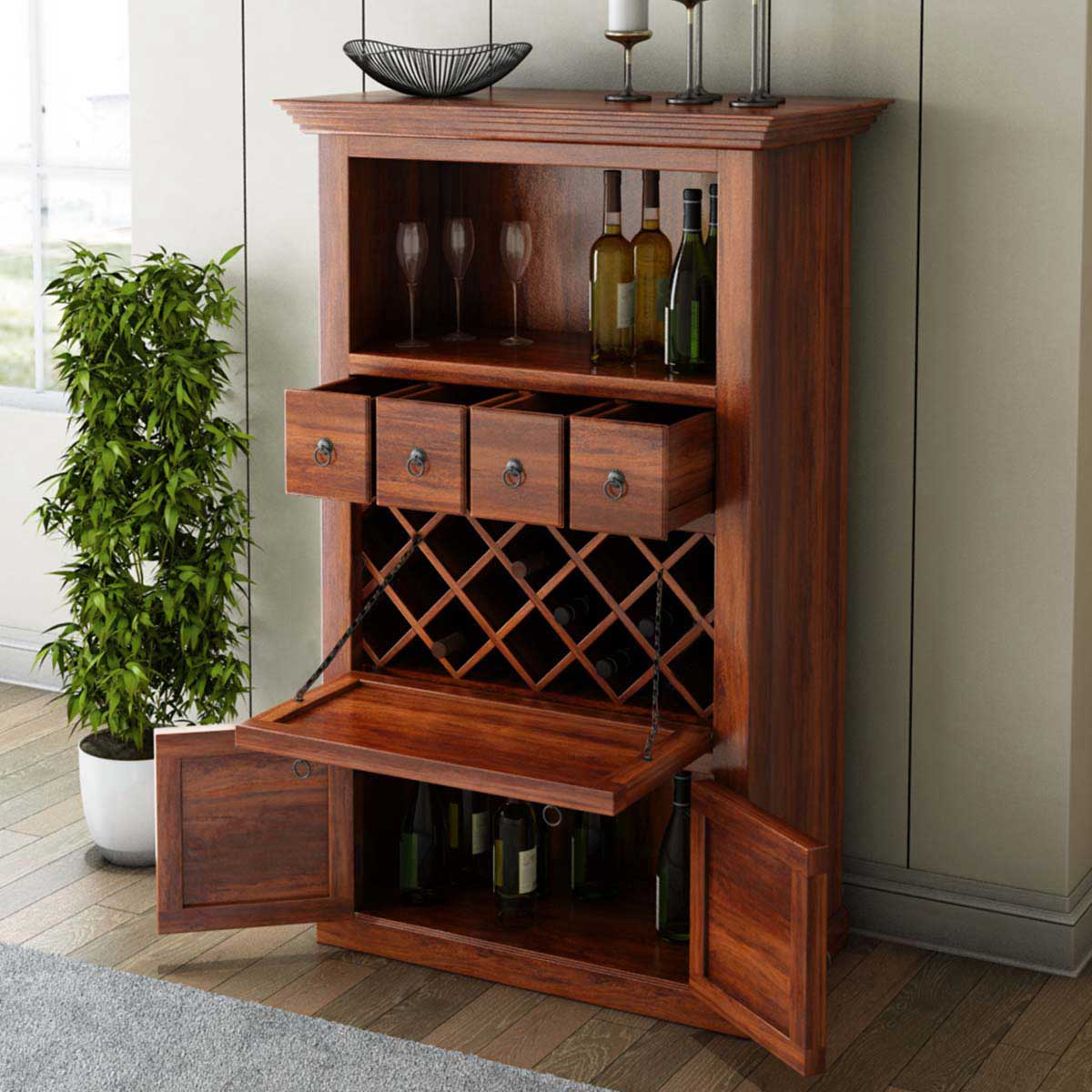 Wood Wine Bar ~ Alabama spacious handcrafted solid wood bar cabinet with