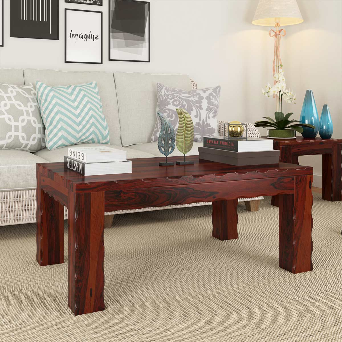 Unique rustic large cocktail wood coffee table
