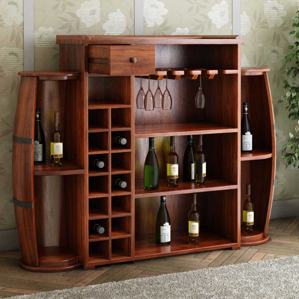 Wood Wine Bar ~ Harrod handcrafted rustic solid wood barrel design home