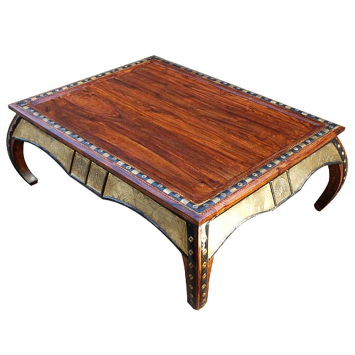 Wood large accent occasional cocktail coffee table for Large wood coffee table