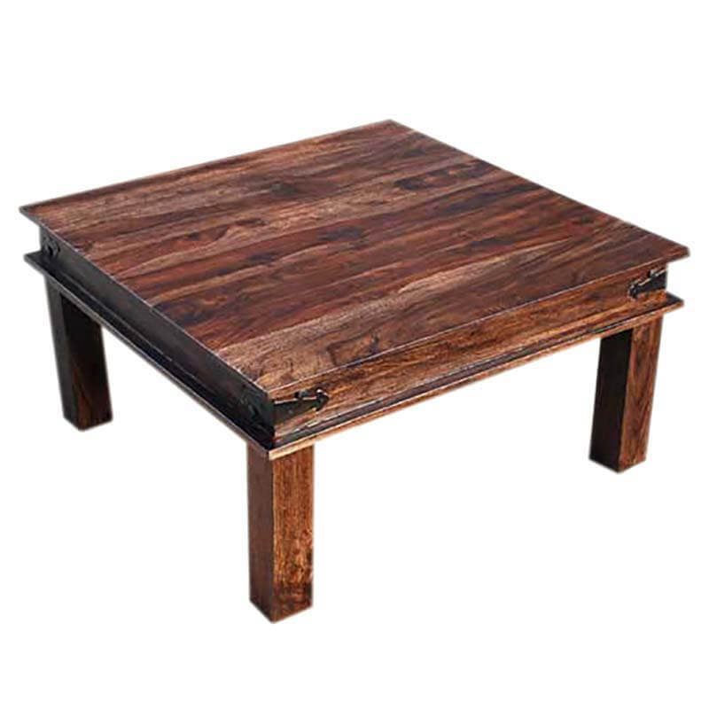 Shaker Style Espresso Wood Metal Accents Square Cocktail Coffee Table