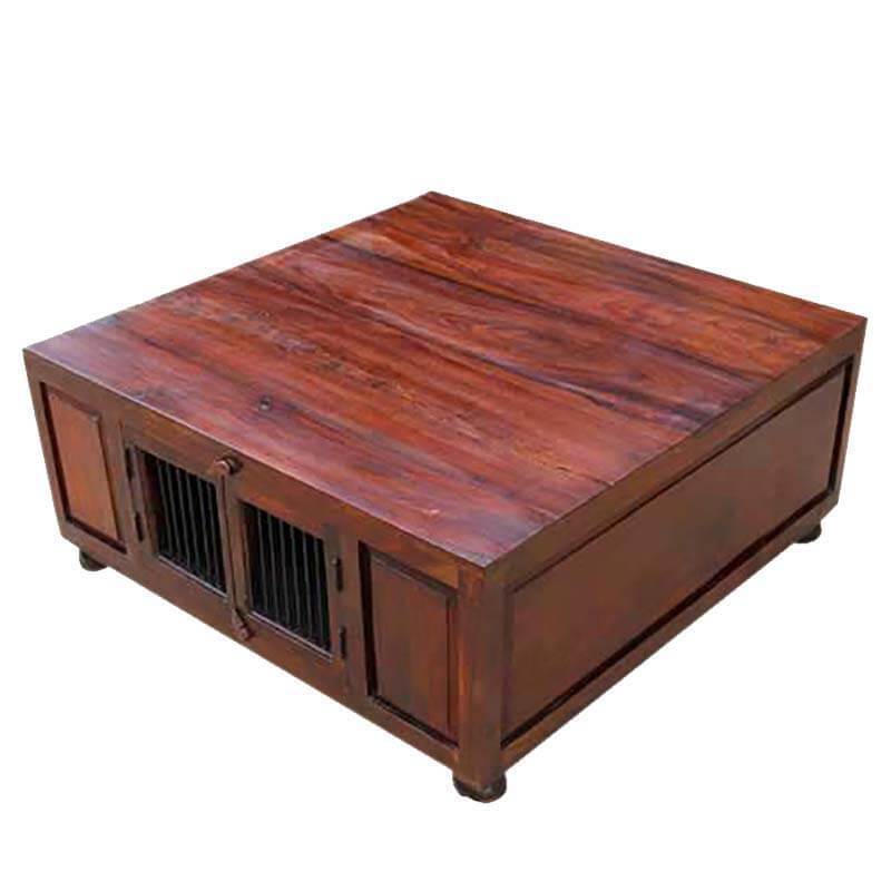 Solid wood square storage trunk cocktail coffee table Square coffee table with shelf