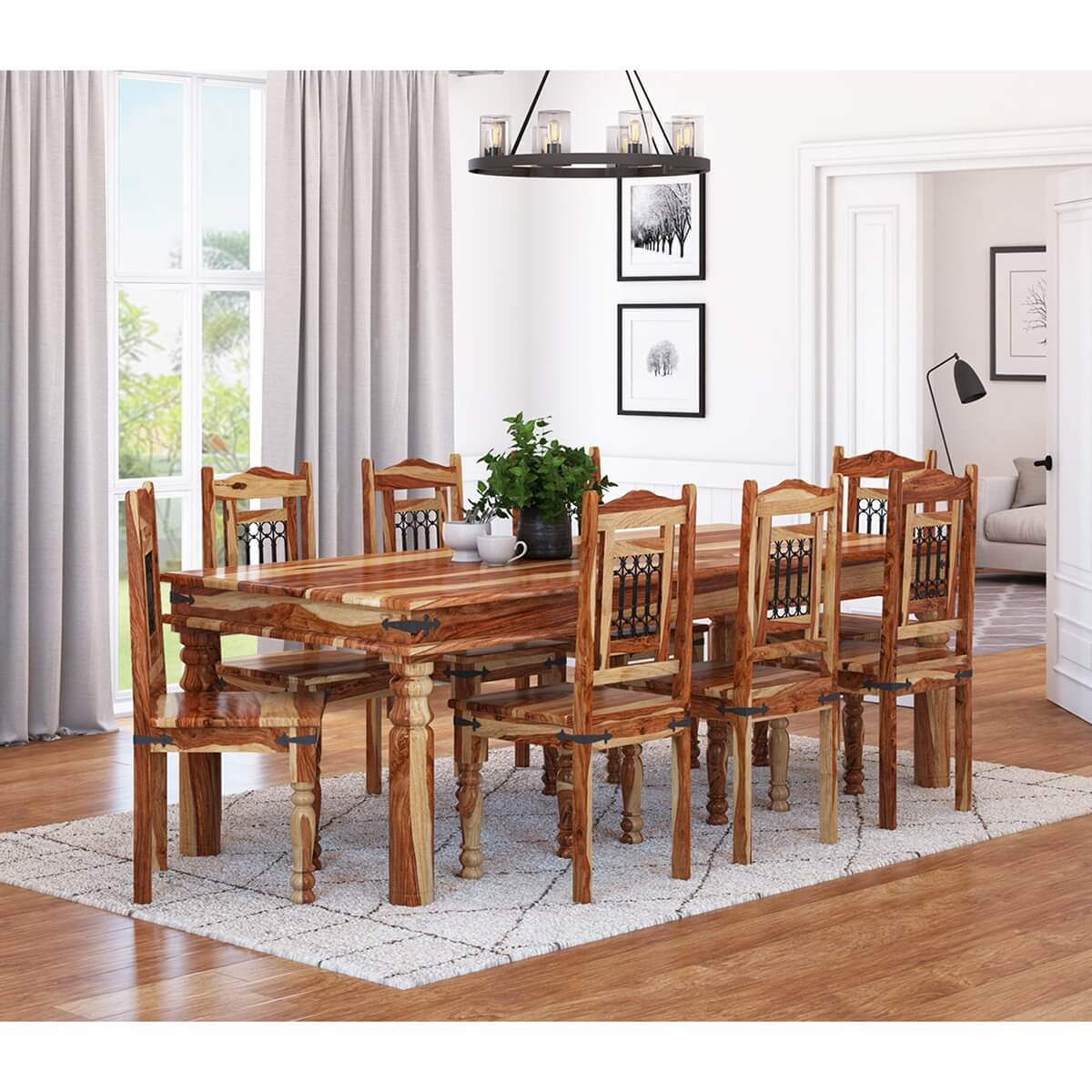 Dallas classic solid wood rustic dining room table and for Table and chair set