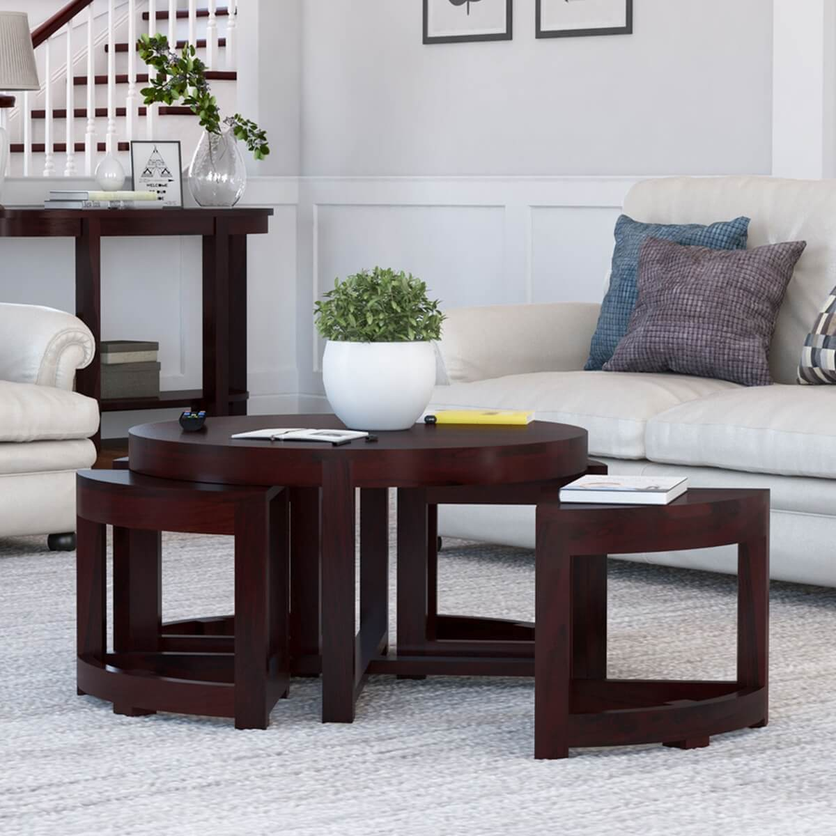 Modern Round Brown Nesting Cocktail Coffee Table With 4