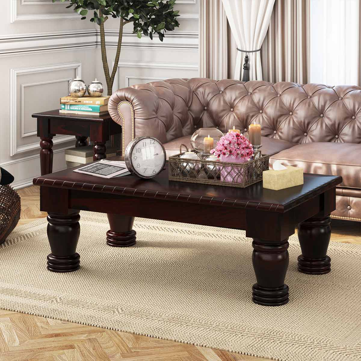 Large Dark Solid Wood Country Style Coffee Table