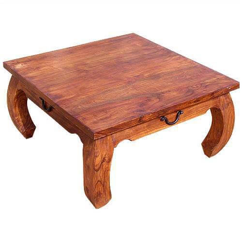 Rustic square large cocktail opium coffee table with curved legs Large square coffee table