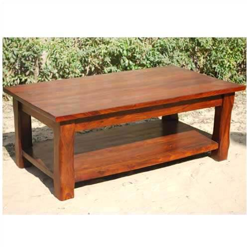 Large Wood Coffee Table: Large Rustic Wood Occasional Cocktail Coffee Table