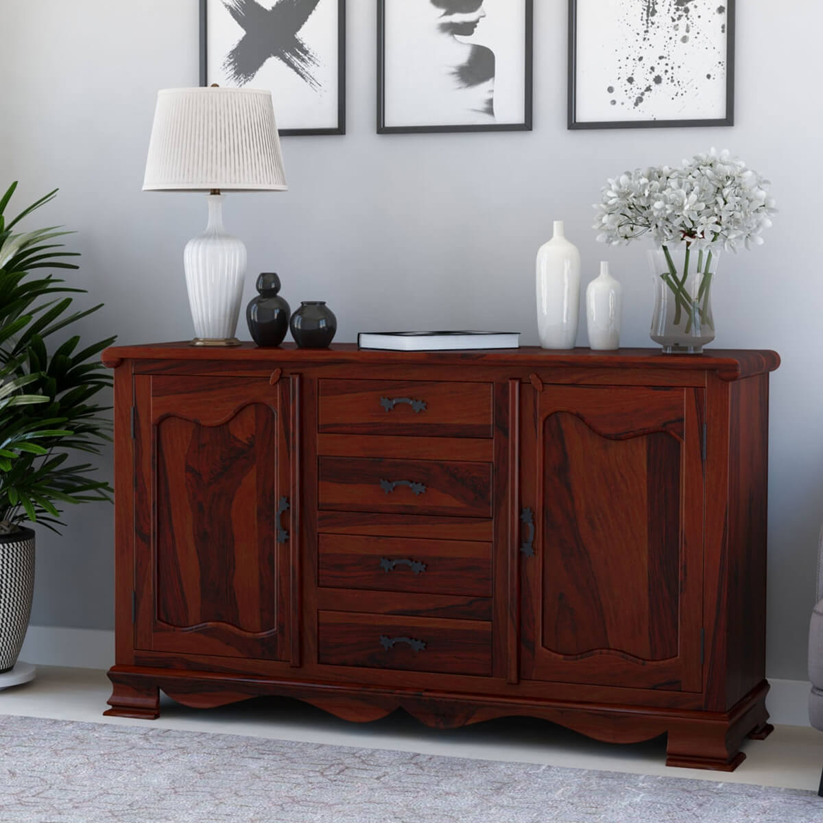 Credenza Dining Room: French Rustic Solid Wood 4 Drawer Large Sideboard Cabinet