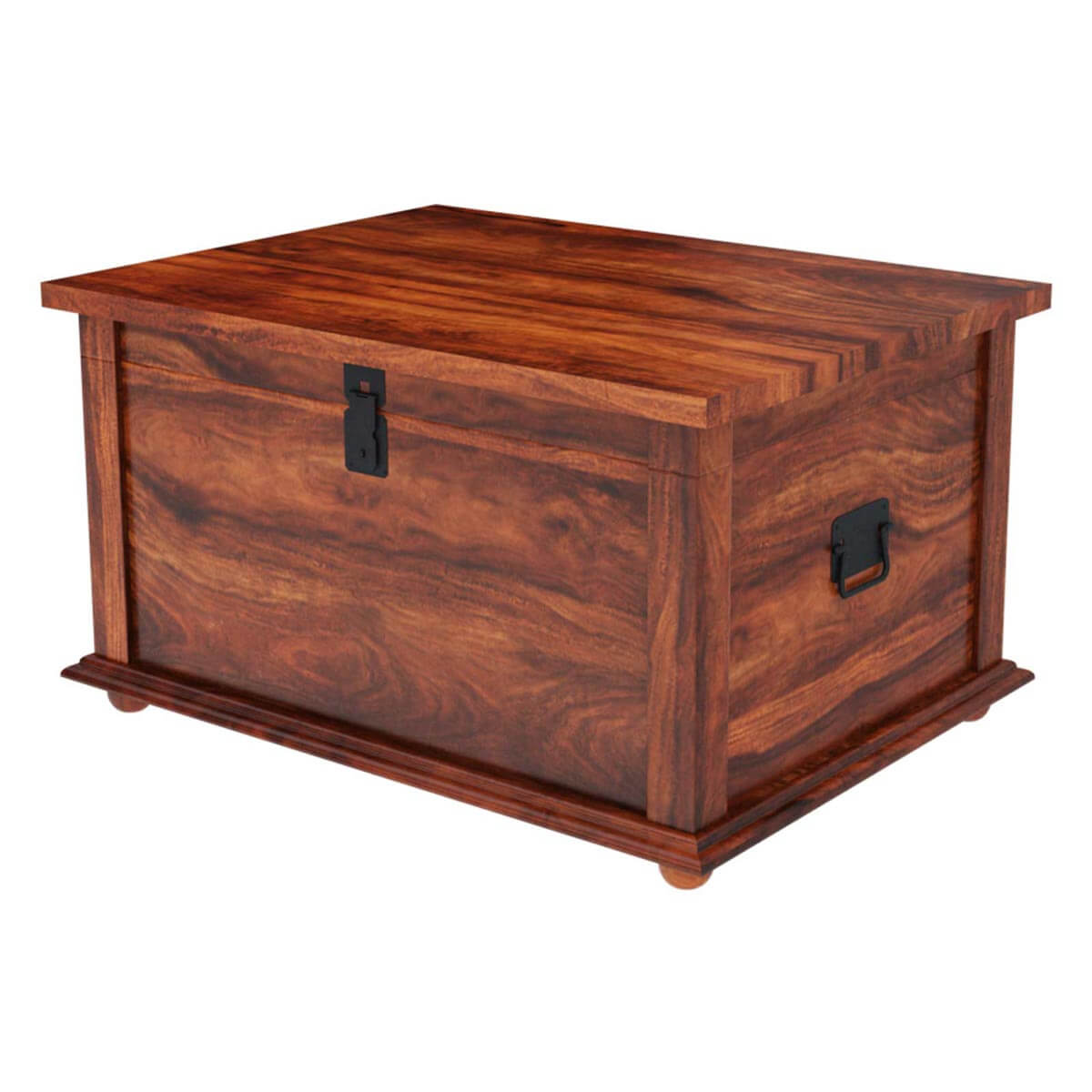 Rustic Primitive Solid Wood Storage Trunk Coffee Table NEW