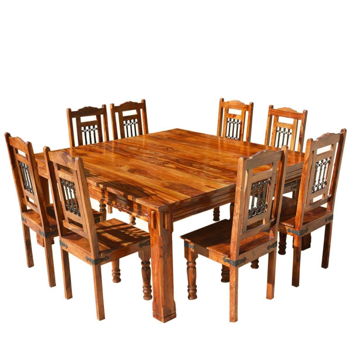 Solid wood rustic square dining table chairs set for Solid wood dining room table and chairs
