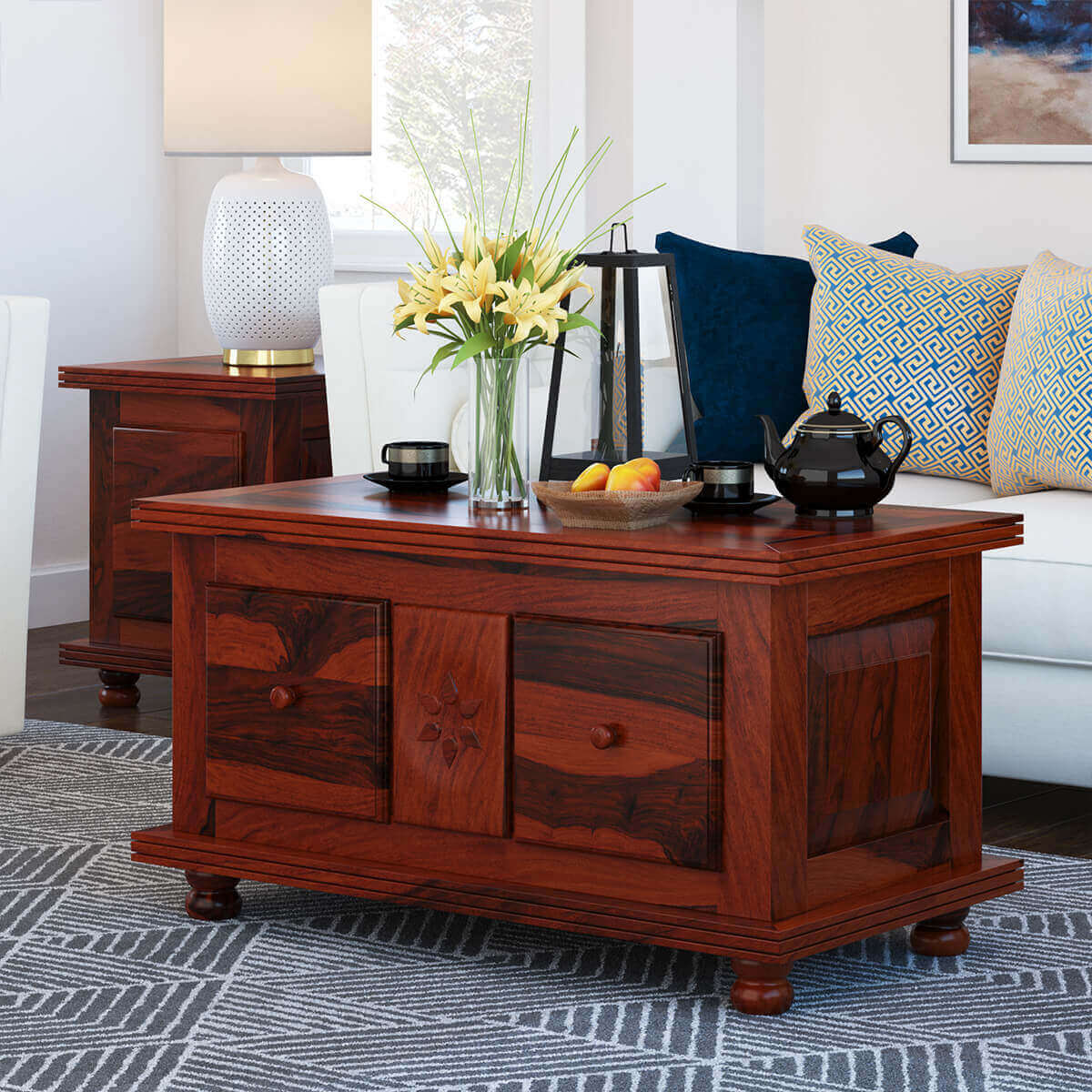 Rustic Wood Drawers Storage Cocktail Coffee Table
