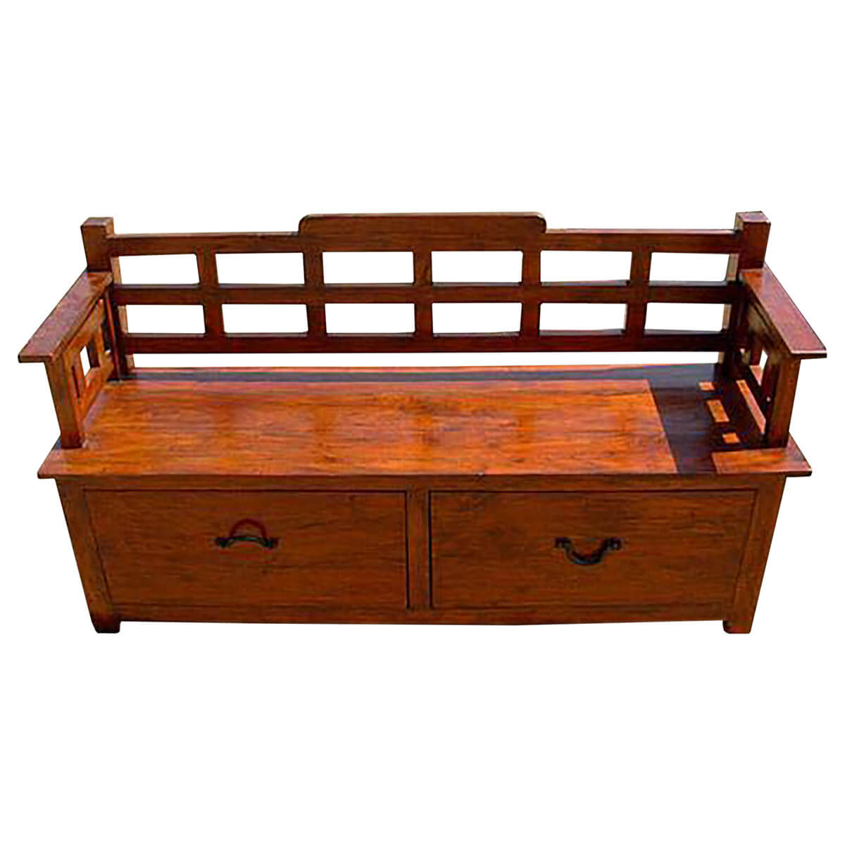 Rustic wood storage drawers sofa entry way long bench Bench sofa