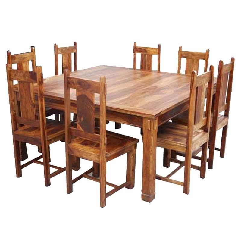 Large Rustic Square Santa Cruz Dining Table And Chair Set